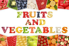 Word fruits and vegetables with apple, orange, tomatoes Royalty Free Stock Photography