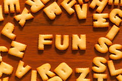 The word fun written with cracker Royalty Free Stock Photos