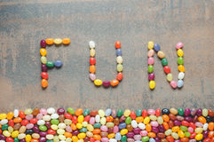 Word fun written with jelly beans Stock Photos