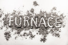 Word furnace text written in ash, dust Stock Photo
