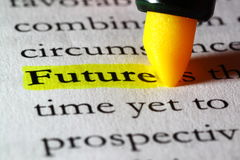 Word future highlighted with a yellow marker. Closeup of the word future highlighted with a yellow marker stock photo