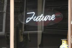 The Future. The word Future written in neon on a fortune teller`s window royalty free stock images