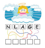Word game with angel. A funny game for kids: Find out the correct word by following the lines and adding the letters in the blank squares Stock Photos
