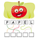 Word game with apple. A funny game for kids: Find out the correct word by following the lines and adding the letters in the blank squares Royalty Free Stock Images