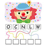 Word game with clown