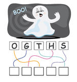 Word game with ghost. A funny game for kids: Find out the correct word by following the lines and adding the letters in the blank squares Stock Images