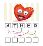 Word game with heart. A funny game for kids: Find out the correct word by following the lines and adding the letters in the blank squares Royalty Free Stock Image
