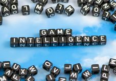 The word Game intelligence. On the sky background Royalty Free Stock Photos