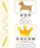 Word game for kids - dog & crown. Word games for kids with dog and crown cartoons. The child has to find out the correct word by following the lines and adding Stock Image