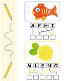 Word game for kids - fish & lemon. Word games for kids with fish and lemon cartoons. The child has to find out the correct word by following the lines and adding Stock Images