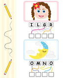 Word game for kids - girl & moon. Word games for kids with girl and moon cartoons. The child has to find out the correct word by following the lines and adding Royalty Free Stock Images