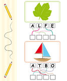 Word game for kids - leaf & boat. Word games for kids with leaf and boat cartoons. The child has to find out the correct word by following the lines and adding Stock Photos