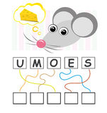 Word game with mouse. A funny game for kids: Find out the correct word by following the lines and adding the letters in the blank squares Stock Image