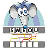Word game with the mouse. A funny and didactic game for children: Find out the correct word by following the lines and adding the letters in the blank squares Vector Illustration