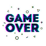 Word Game over in Ornamental design glitch and noise. Designs for banners, web pages, screen savers, presentations. Glitch style. Vector illustration Royalty Free Stock Image