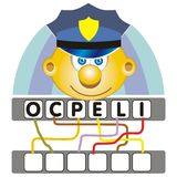 Word game with the police. A funny and didactic game for children: Find out the correct word by following the lines and adding the letters in the blank squares Royalty Free Illustration