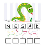 Word game with snake. A funny game for kids: Find out the correct word by following the lines and adding the letters in the blank squares Royalty Free Stock Photos