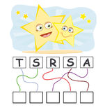 Word game with stars. A funny game for kids: Find out the correct word by following the lines and adding the letters in the blank squares Stock Photo