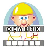 Word game with the worker. A funny and didactic game for children: Find out the correct word by following the lines and adding the letters in the blank squares Vector Illustration