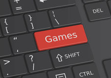 The word Games written on the keyboard Royalty Free Stock Photo