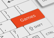 The word Games written on the keyboard Royalty Free Stock Images