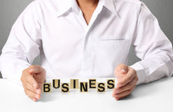 Word gbusiness in hand Royalty Free Stock Photography