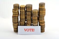 Word geïsoleerde stem met muntstukken op wit royalty-vrije stock fotografie