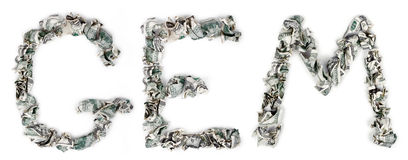 Gem - Crimped 100$ Bills. The word 'gem', made out of crimped 100$ bills Stock Photography