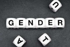 Word gender  on toy cubes Stock Photography