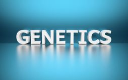 Word Genetics. Written in large bold white letters and placed on blue background over reflective surface. 3d illustration stock illustration