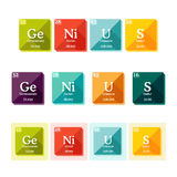 Word Genius formed of the elements of periodic table. Typography of chemical elements concept. Vector illustration in flat style Stock Photography