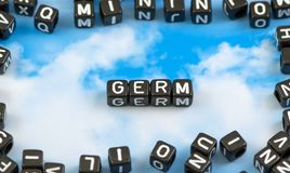 The word germ. On the sky background Royalty Free Stock Photos