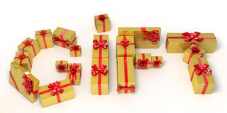 Word gift made of golden  gift boxes. Holiday 3d illustration Stock Photo