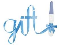 Word gift written ribbon. pregnancy test Stock Photos