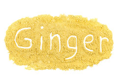 Word Ginger written in spice powder Stock Photo