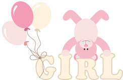 Word girl with baby teddy bear and balloons Stock Image