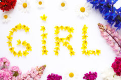 Word GIRL written with garden flowers on white. Babyshower postcard, girl concept royalty free stock photography
