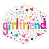 Word girlfriend typography lettering decorative text Stock Image