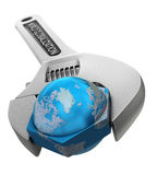 Word Globalization. Conceptual illustration of a world globalization adjustable wrench royalty free illustration