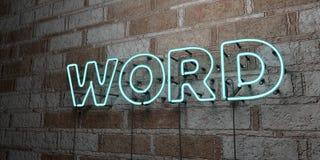 WORD - Gloeiend Neonteken op metselwerkmuur - 3D teruggegeven royalty vrije voorraadillustratie stock illustratie