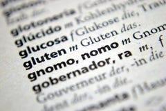 Word gluten spanish german dictionary Royalty Free Stock Photo