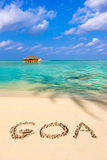 Word Goa on beach Royalty Free Stock Images