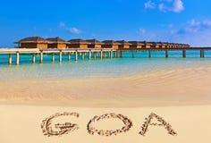 Word Goa on beach Stock Photo