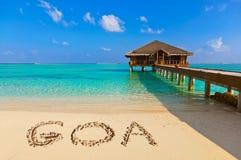 Word Goa op strand Royalty-vrije Stock Fotografie