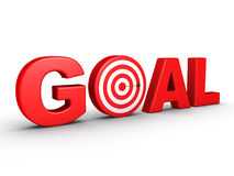 The word GOAL as a target and an arrow. 3d red word GOAL as a target and an arrow at the center Stock Photo