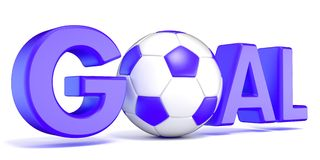 Word GOAL with the football, soccer ball. Blue color. 3D Stock Image