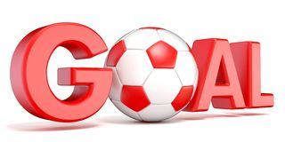 Word GOAL with the football, soccer ball. 3D Stock Photography