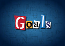 The word Goals made from cutout letters. On a blue background Stock Photo