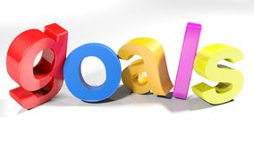 Goals colorful 3D write - 3D rendering. The word goals, written with colorful 3D letters standing, slightly bent, on a white surface - 3D rendering illustration Stock Photos