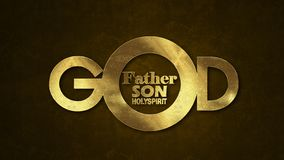 The word GOD concept written in gold texture stock images